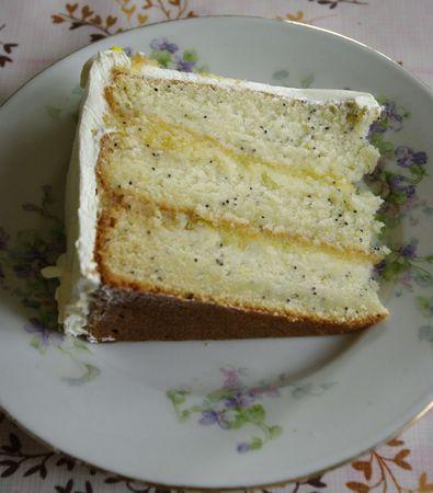 Vue en coupe de mon layer cake citron pavot