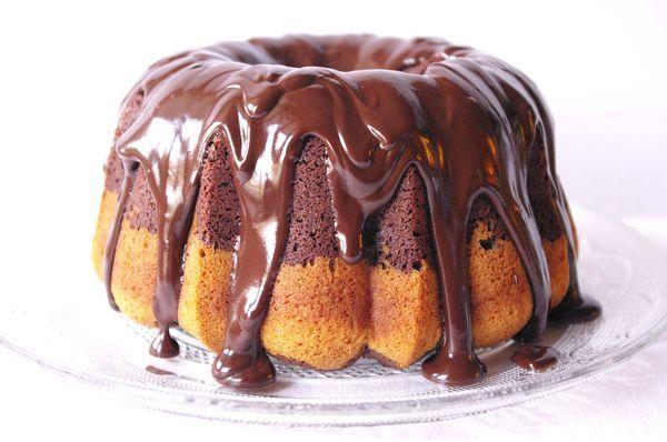 Bundt cake marbré chocolat, orange et Cointreau