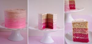 Étapes du pink ombre cake