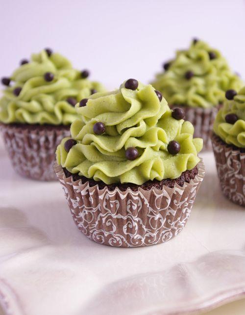 Cupcakes chocolat et mousseline pistache