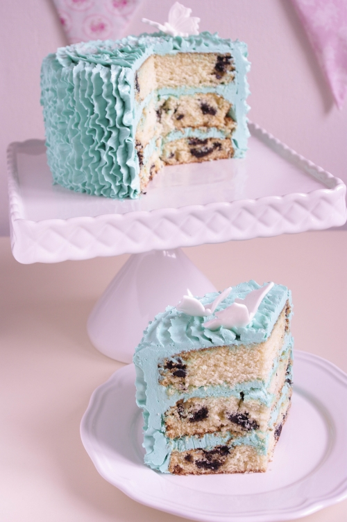Vue intérieure du ruffle cake Oreo