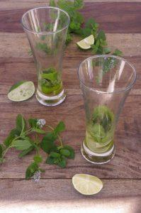 La base du cocktail : citron vert et menthe