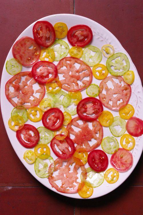 Déclinaison de tomates en carpaccio
