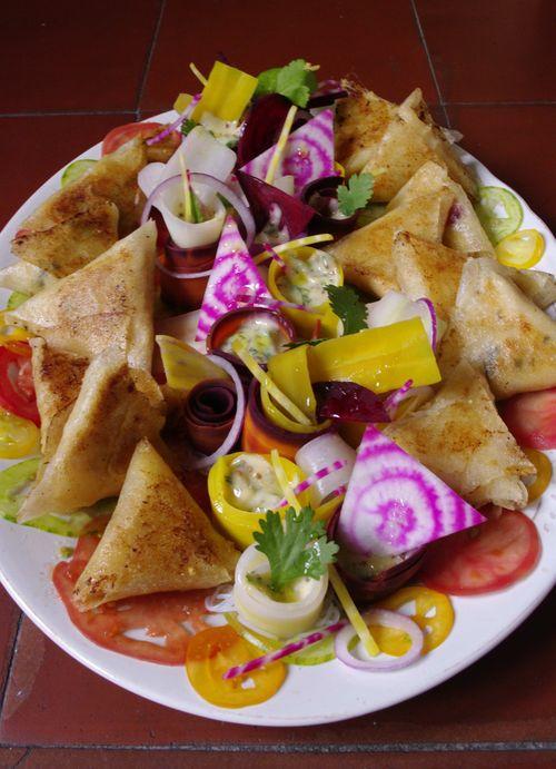 Samossas et salade de carottes et betteraves