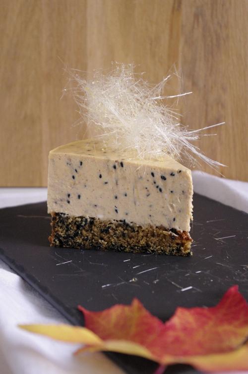 Cheesecake à la citrouille et sésame noir