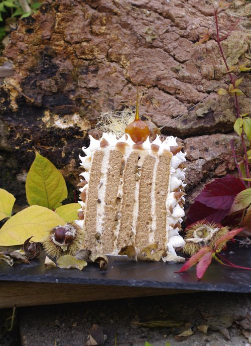 Layer cake vertical au marron