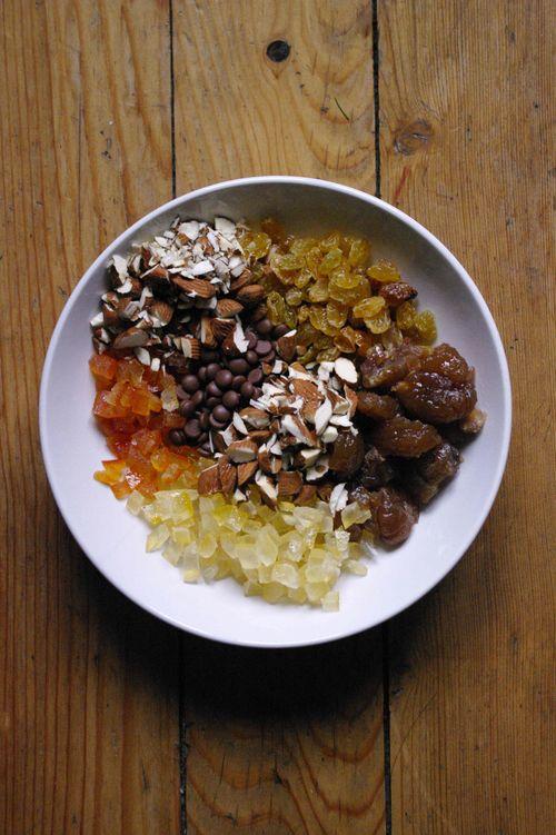 La garniture du panetonne marrons agrumes