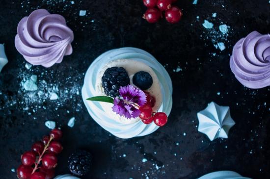 Pavlova chocolat blanc vue de dessus