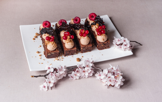 Brownie chocolat lait et fruits rouges