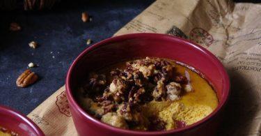 Crème citrouille et crumble noix de pécan