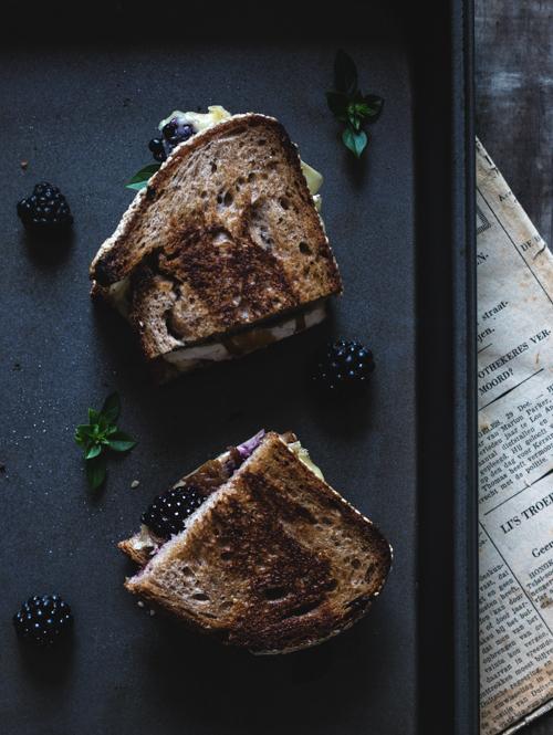 Sandwich grillé mûre et brie