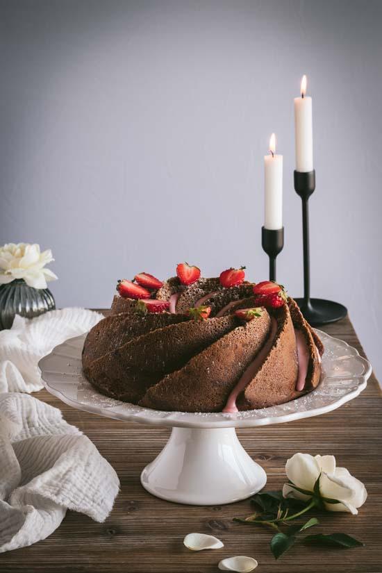 Gâteau fraises rhubarbe et cream cheese