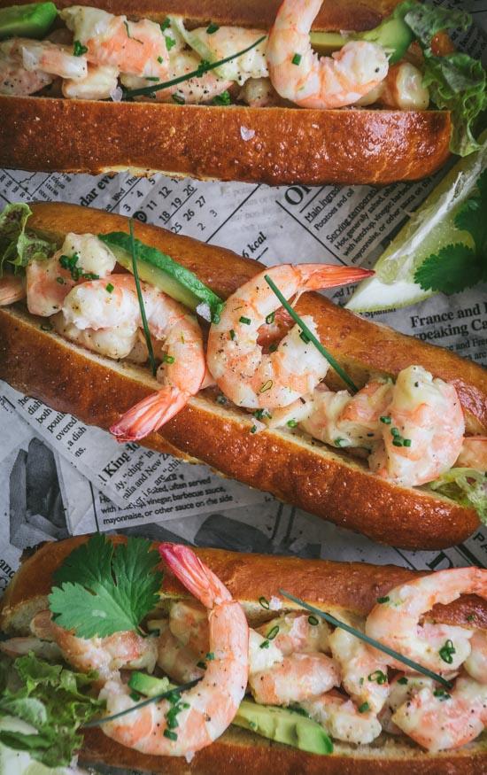 Sandwich à la crevette comme un lobster roll