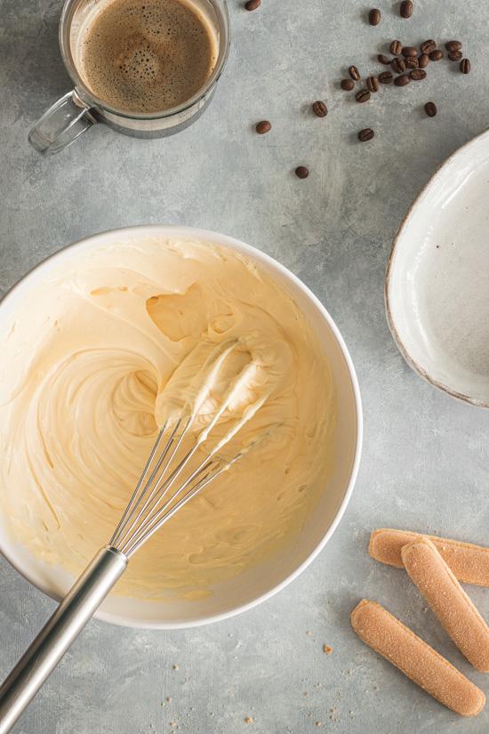 Le mélange de ma crème tiramisu au mascarpone