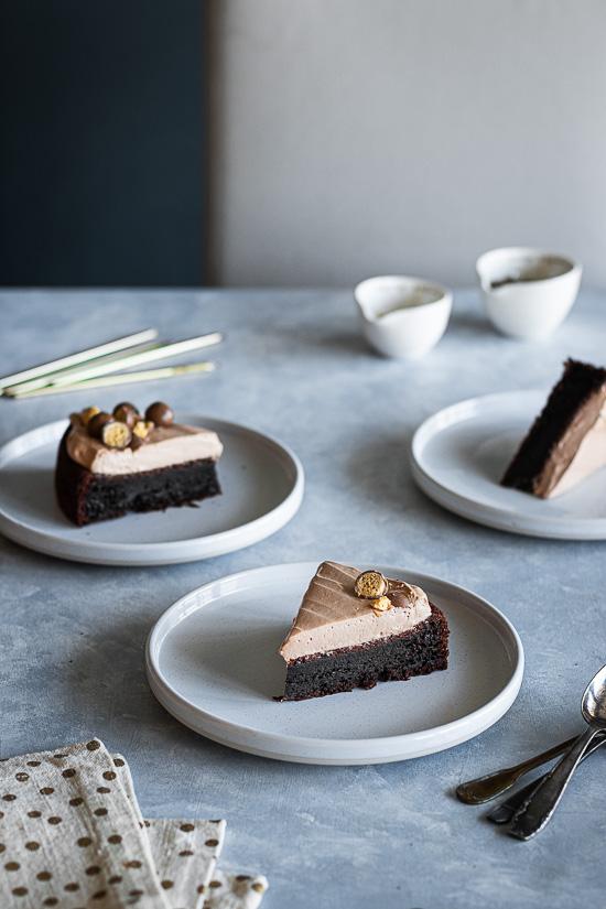 Parts de gâteau au chocolat et Maltesers
